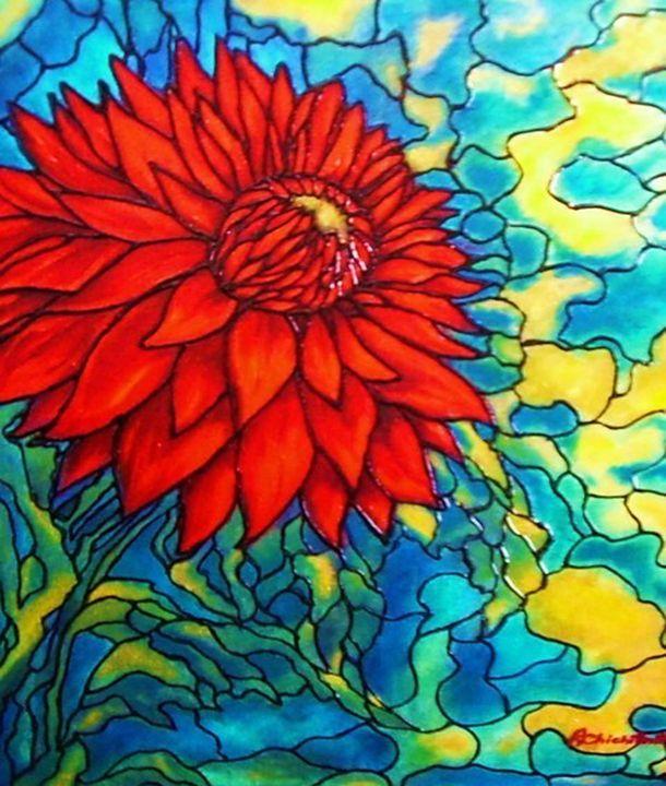 Red Flower - Art by Rae Chichilnitsky