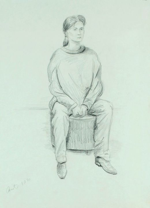 Seated woman on round stool - Amit Bar