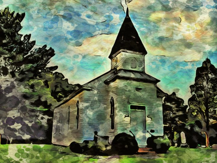 Stately Old Church - Prints by Michel