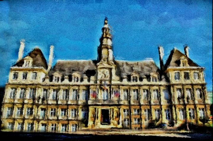 Building in Reims, France - Prints by Michel