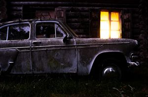 The old car and the yellow box
