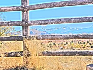 Rustic Fence, Mountains Beyond - Bev's Takes