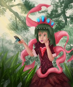 Cute Girl in Enchanted Forest