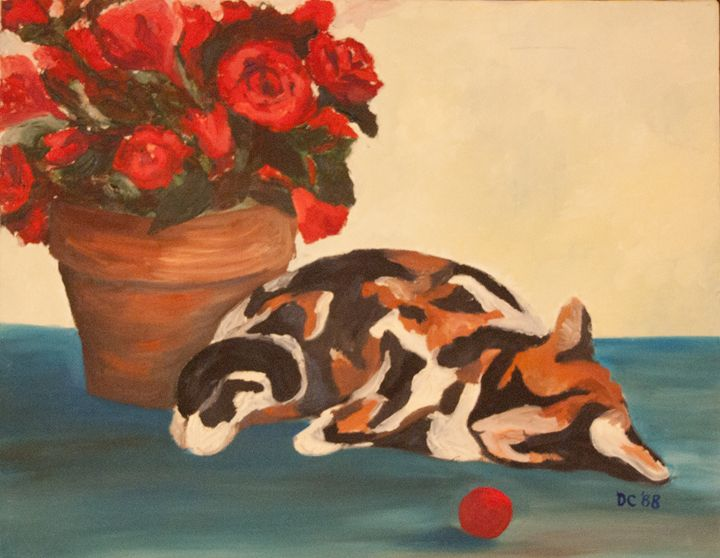 Cat and Roses - Cameo Gallery