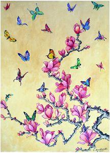 Butterflies on magnolia