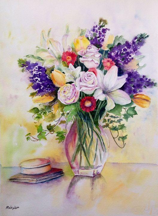 Flowers in crystal vase - Mahjabin