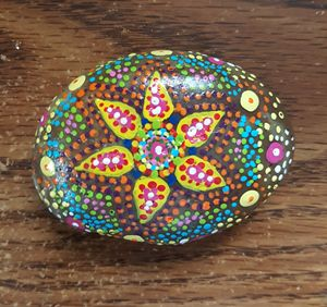 Flower Mandala Painted River Rock