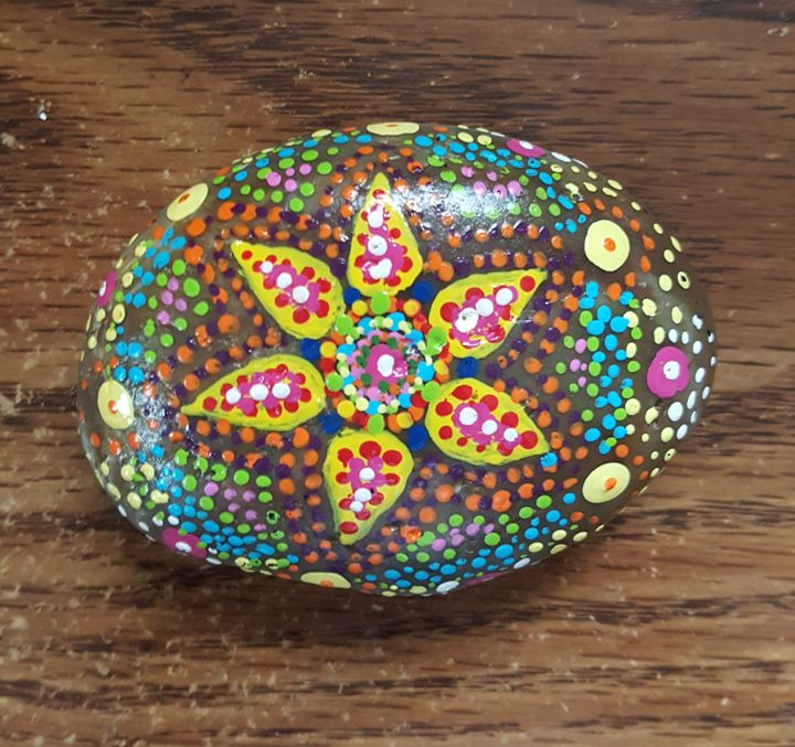 Flower Mandala Painted River Rock - Dreamweaver Designs