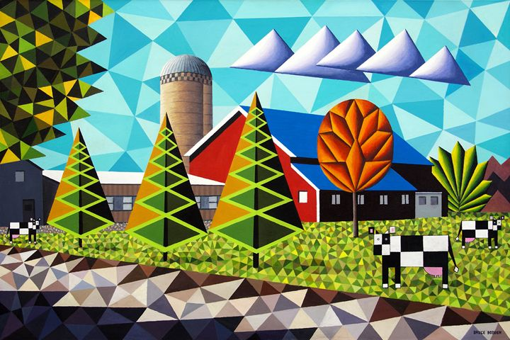 Farm With Three Pines And Cows - Bruce Bodden