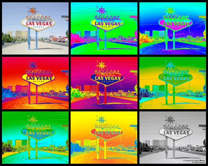 Vegas Sign Warhol Black - Juan Martico