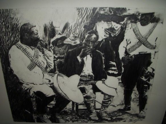 Pancho Villa smoking wit soldiers - G.T.