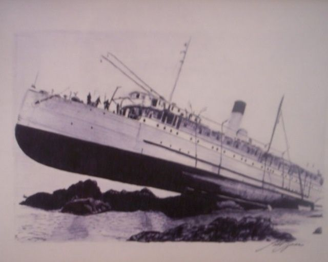 Ship caught in outgoing tide - G.T.