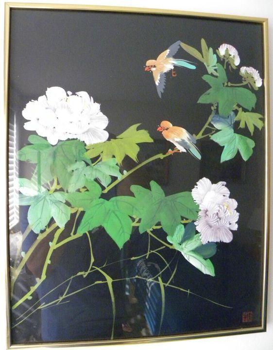 """The Birds"" Silk Painting 21″ x 17"" - Canary"