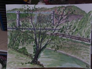 Tree,river,parkway bridge,railroad,