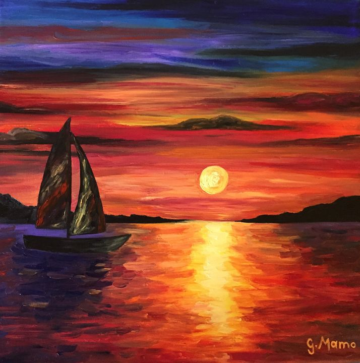 Sailboat at Sunset - Art Attack