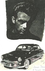 James Dean and Merc - drawings by GaryD