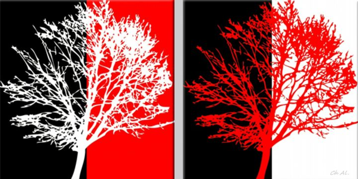 Two red and white trees - Fleurdelis