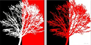 Two red and white trees