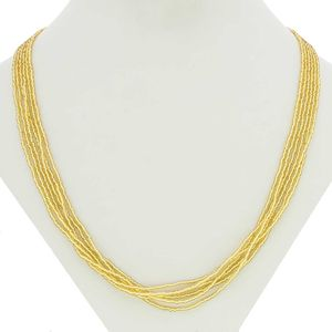 6 strands yellow Bead Glass Necklace