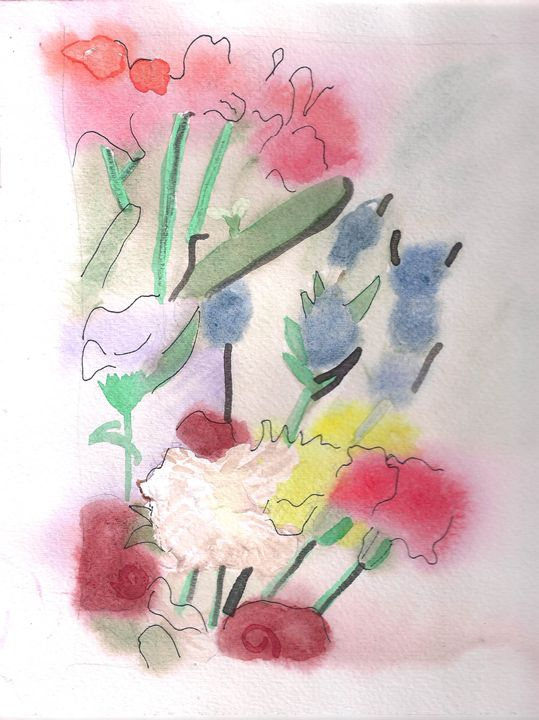 Flowers Wet On Wet Watercolor - Artworksbylatidra