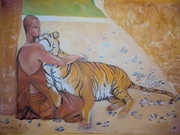 Buddhist and Tiger - Marina Mos