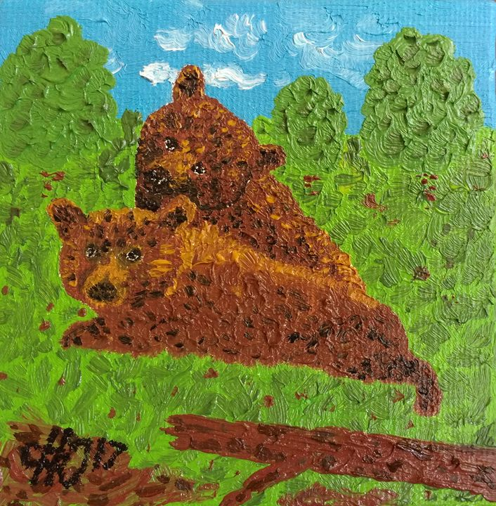 Bear Cubs Hanging Out - Philip's Oil Paintings