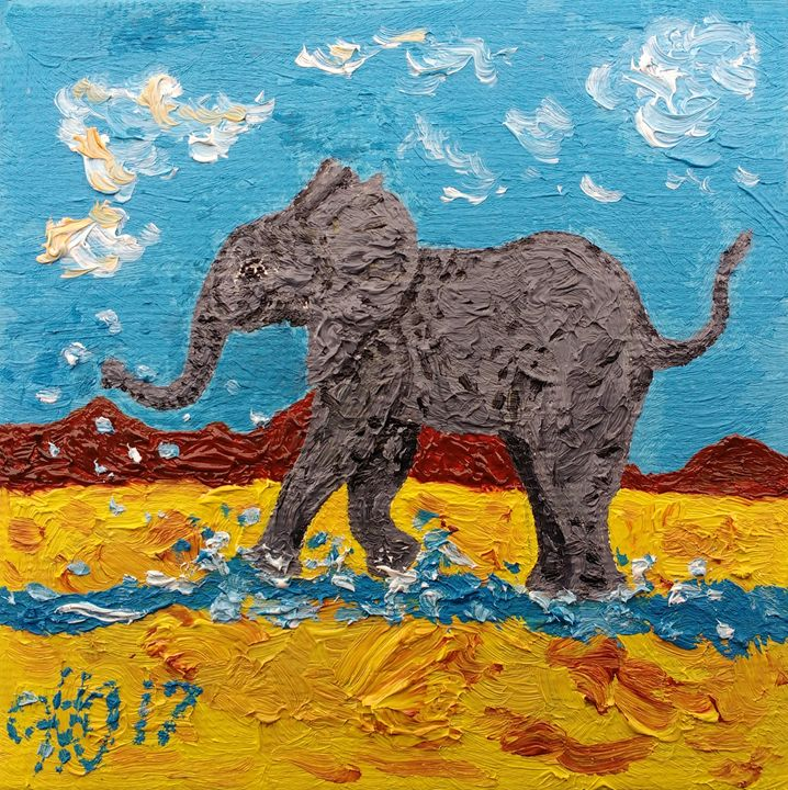 Playful Elephant in Water - Philip's Oil Paintings