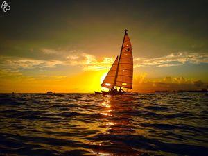 Sailboat Sunset Ala Moana