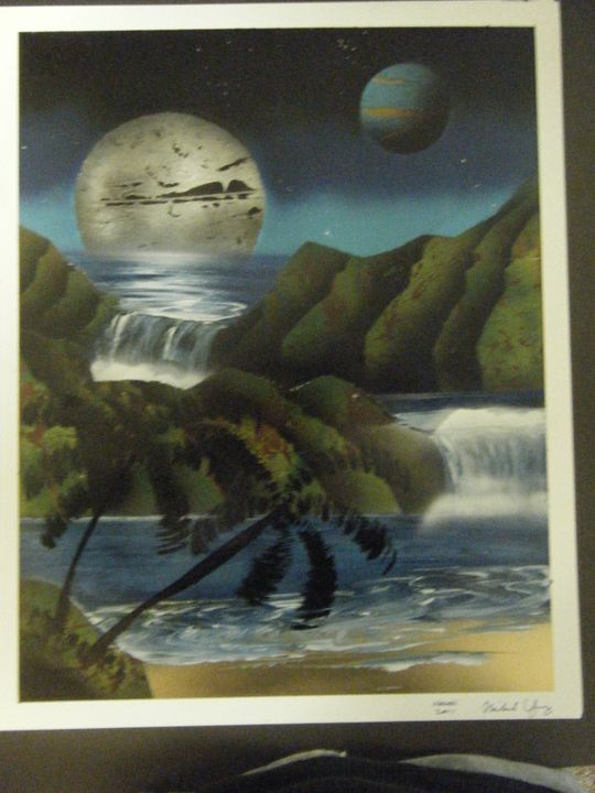 Moonlit Waterfalls - MSYart