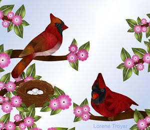 Pair of Cardinals and Nest - Art by Lorene