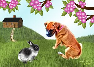 Rabbit and Boxer Pup - Art by Lorene
