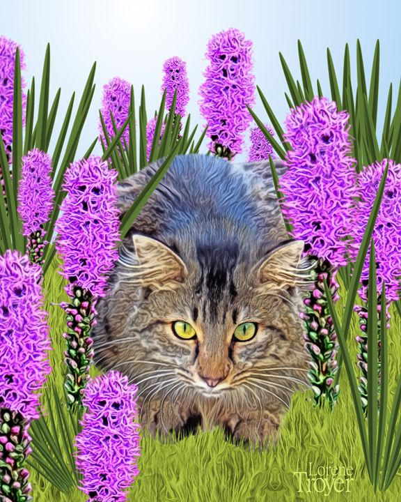 Cat Hiding in Flowers - Art by Lorene