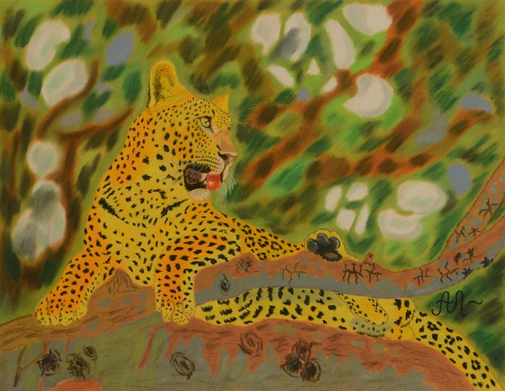 A leopard resting on a tree - Anton's art from the heart