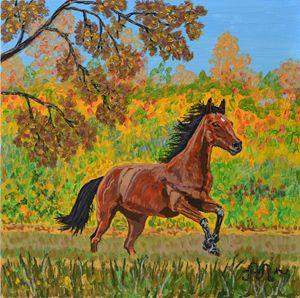 A running brown horse