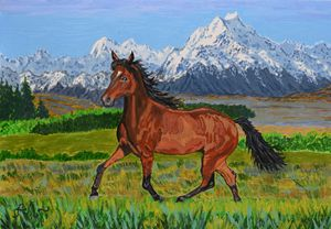 A brown horse and Mt. Cook, NZ