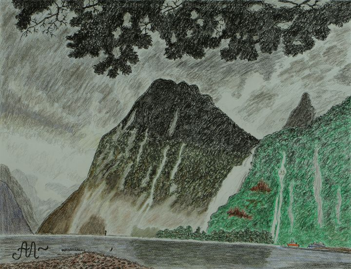 A rainy day in Milford Sound, NZ - Anton's art from the heart