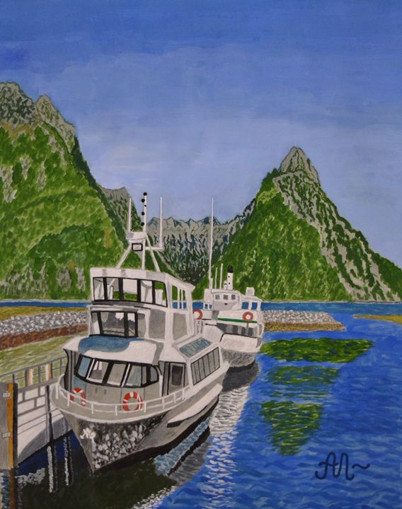 Cruise ships in Milford Sound, NZ - Anton's art from the heart