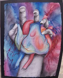 Squeezing Hearts, Mixed Media Waterc