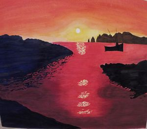 Sunset Harbor, Watercolor Painting