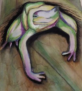 Tree Frog Watercolor & Charcoal Mixe