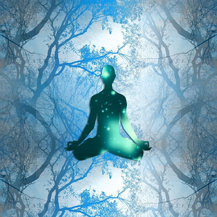 Floating Yogi in the Trees (blue) - NCL