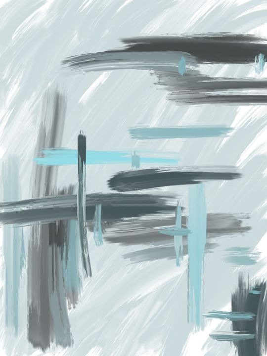 Gray and Blue Abstract - HBKiitsu Arts
