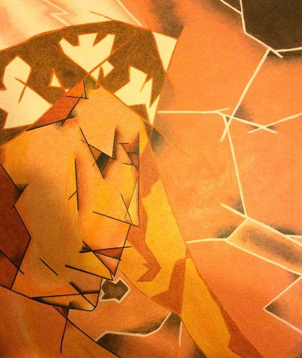 Sepia Cubism Angel - Fabartistry