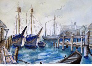 New England Harbor Scene in Blue - Gary R. Caldwell | CADesign, Art & Photos