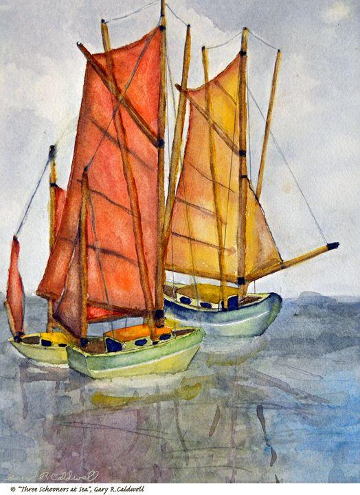 Three Schooners at Sea - Gary R. Caldwell | CADesign, Art & Photos