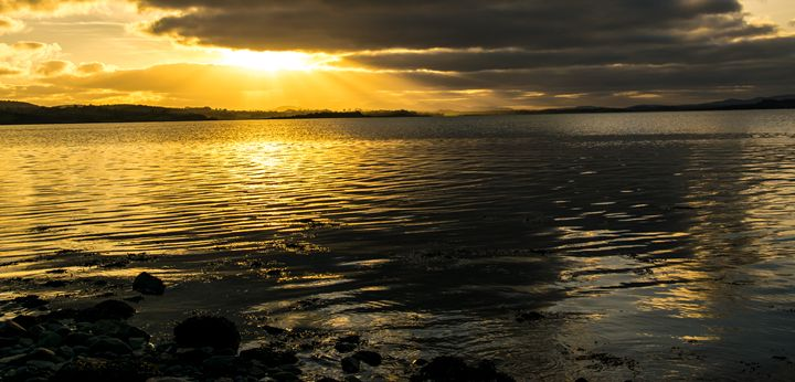 Sunset at Waters Edge - Vertical Horizontal Photography
