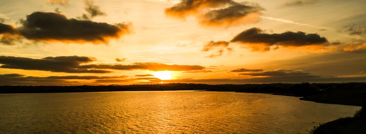 Orange Sunset in the Bay - Vertical Horizontal Photography