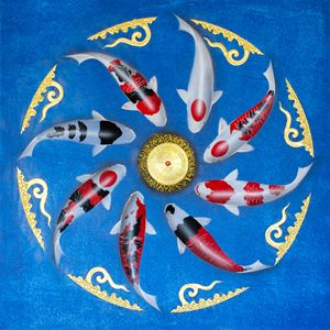 Asian Thai Koi Fish Painting