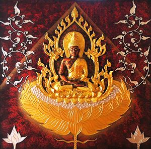 3D Golden Thai Buddha Painting