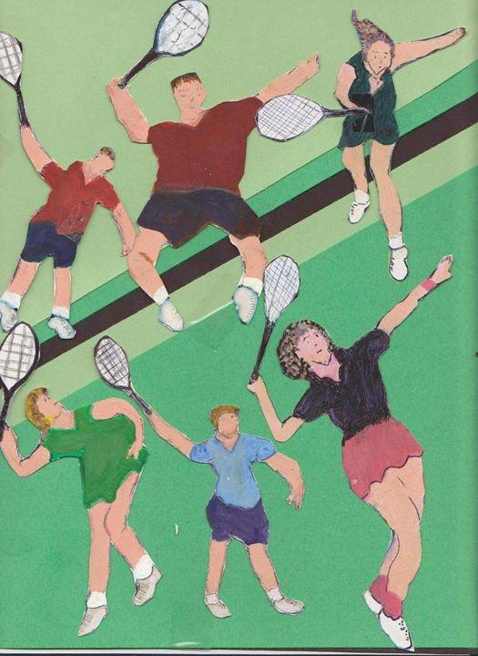 TENNIS PEOPLE ON COURT - ART CREATIONS BY OLGA